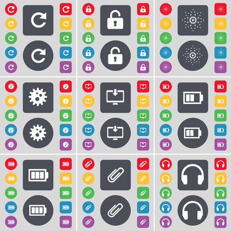 heart gear: Reload, Lock, Star, Gear, Monitor, Battery, Clip, Heart icon symbol. A large set of flat, colored buttons for your design. Vector illustration