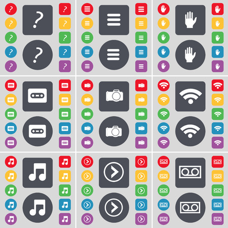 arrow right: Quotation mark, Apps, Hand, Cassette, Wi-Fi, Note, Arrow right, Cassette icon symbol. A large set of flat, colored buttons for your design. Vector illustration