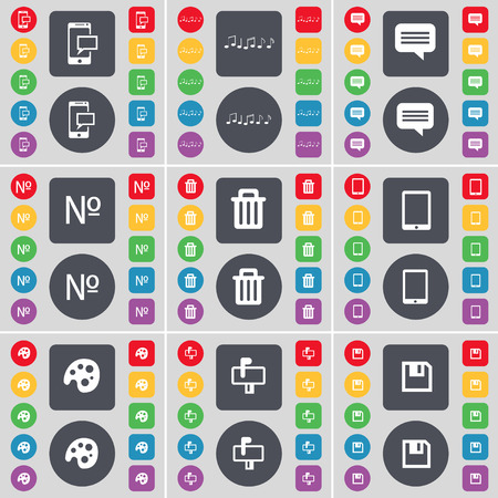 note pc: SMS, Note, Chat bubble, Number, Trash can, Tablet PC, Palette, Mailbox, Floppy icon symbol. A large set of flat, colored buttons for your design. Vector illustration
