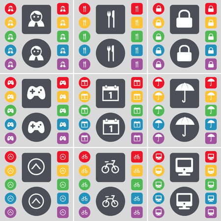 lock up: Avatar, Fork and knife, Lock, Gamepad, Calendar, Umbrella, Arrow up, Bicycle, Monitor icon symbol. A large set of flat, colored buttons for your design. Vector illustration