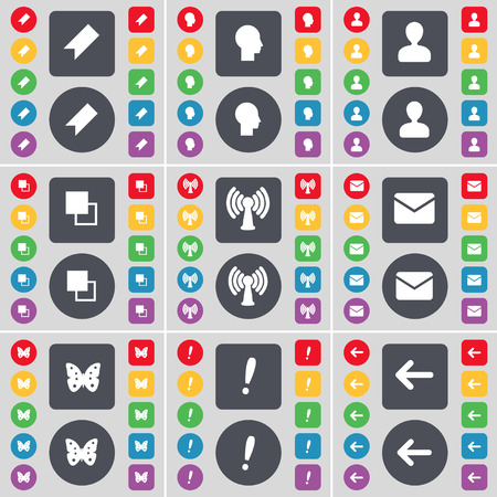 arrow left icon: Marker, Silhouette, Avatar, Copy, Wi-Fi, Message, Butterfly,, Exclamation mark, Arrow left icon symbol. A large set of flat, colored buttons for your design. Vector illustration Illustration