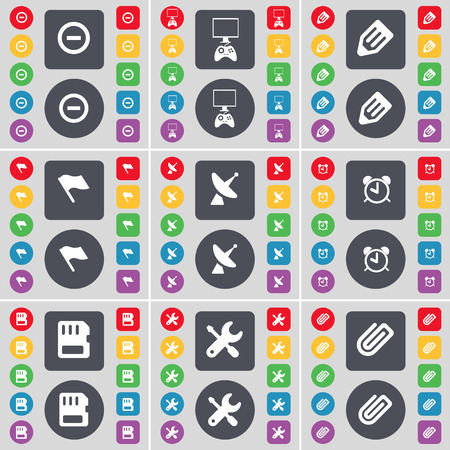satellite dish: Minus, Monitor, Pencil, Flag, Satellite dish, Alarm clock, SIM card, Wrench, Clip icon symbol. A large set of flat, colored buttons for your design. Vector illustration Illustration