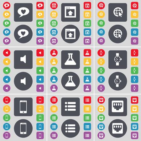 red lan: Burbuja de chat, Ventana, cursor Web, Sonido, Frasco, reloj de pulsera, Smartphone, Lista, LAN icono socket s�mbolo. Un gran conjunto de planos botones, colores para su dise�o. Ilustraci�n vectorial