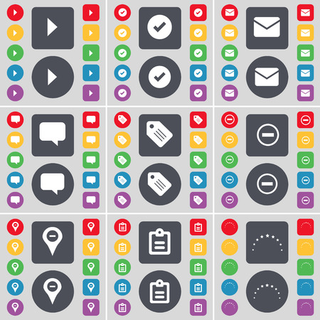 checkpoint: Media play, Tick, Message, Chat bubble, Tag, Minus, Checkpoint, Survey, Stars icon symbol. A large set of flat, colored buttons for your design. Vector illustration