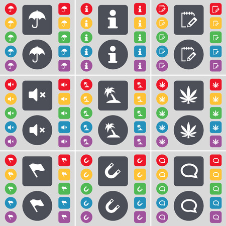 chat bubble icon: Umbrella, Information, Survey, Mute, Palm, Marijuana, Flag, Magnet, Chat bubble icon symbol. A large set of flat, colored buttons for your design. Vector illustration