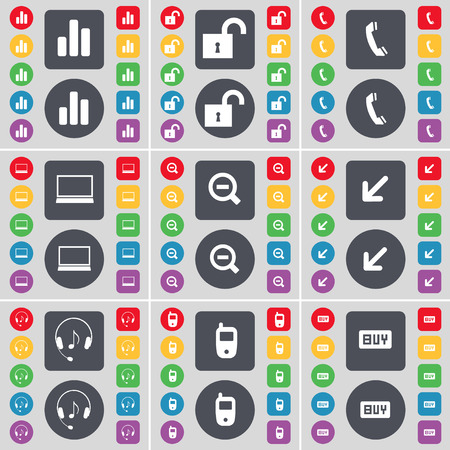 flat screen: Diagram, Lock, Receiver, Laptop, Minus, Deploying screen, Headphones, Mobile phone, Buy icon symbol. A large set of flat, colored buttons for your design. Vector illustration