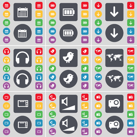 arrow down: Calendar, Battery, Arrow down, Hearphones, Bird, Globe, Microwave, Volume, Projector icon symbol. A large set of flat, colored buttons for your design. Vector illustration Illustration