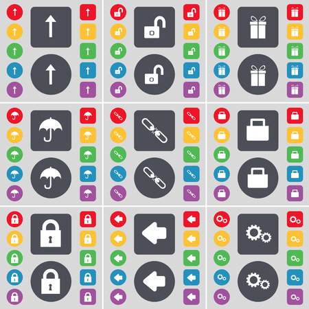 lock up: Arrow up, Lock, Gift, Umbrella, Link, Lock, Arrow left, Gear icon symbol. A large set of flat, colored buttons for your design. Vector illustration