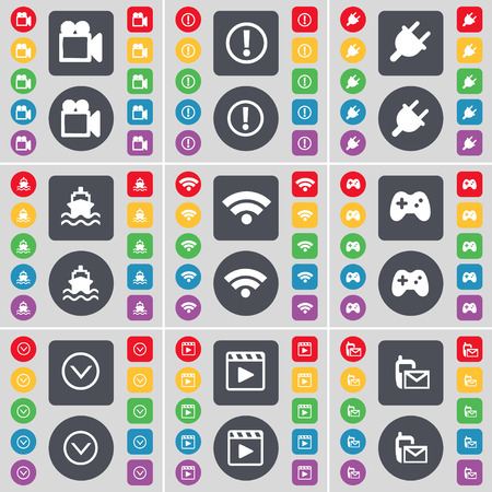 media player: Film camera, Exclamation mark, Socket, Ship, Wi-Fi, Gamepad, Arrow down, Media player, SMS icon symbol. A large set of flat, colored buttons for your design. Vector illustration