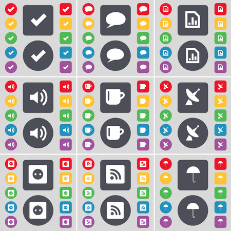 chat bubble: Tick, Chat bubble, Diagram file, Sound, Cup, Satellite dish, Socket, RSS, Umbrella icon symbol. A large set of flat, colored buttons for your design. Vector illustration Illustration
