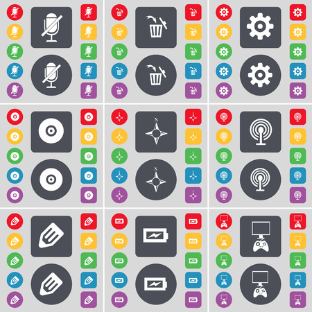 game console: Microphone, Trash can, Gear, Disk, Compass, Wi-Fi, Pencil, Charging, Game console icon symbol. A large set of flat, colored buttons for your design. Vector illustration