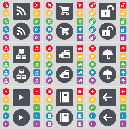 arrow left icon: RSS, Shopping cart, Lock, Network, Film camera, Umbrella, Media play, Notebook, Arrow left icon symbol. A large set of flat, colored buttons for your design. Vector illustration