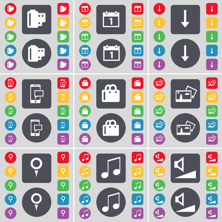 checkpoint: Negative films, Calendar, Arrow down, SMS, Bag, Picture, Checkpoint, Note, Volume icon symbol. A large set of flat, colored buttons for your design. Vector illustration