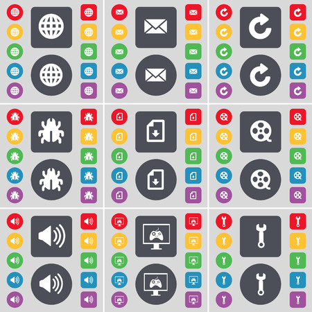 videotape: Globe, Message, Reload, Bug, File, Videotape, Sound, Monitor, Wrench icon symbol. A large set of flat, colored buttons for your design. Vector illustration