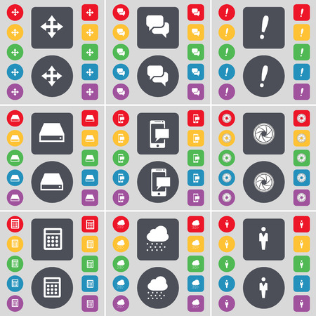 hard drive: Moving, Chat, Exclamation mark, Hard drive, SMS, Lens, Calendar, Cloud, Silhouette icon symbol. A large set of flat, colored buttons for your design. Vector illustration Illustration