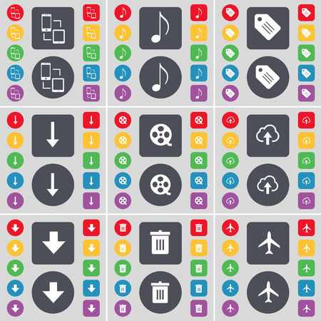 videotape: Connection, Note, Tag, Arrow down, Videotape, Cloud, Arrow down, Trash can, Airplane icon symbol. A large set of flat, colored buttons for your design. Vector illustration