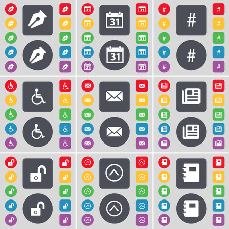 disabled person: Ink pot, Calendar, Hash tag, Disabled person, Message, Newspaper, Lock, Arrow up, Notebook icon symbol. A large set of flat, colored buttons for your design. Vector illustration