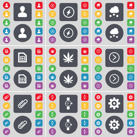 orologio da polso: Avatar, Flash, Cloud, File, Marijuana, Arrow right, Clip, Wrist watch, Gear icon symbol. A large set of flat, colored buttons for your design. Vector illustration