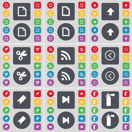 up marker: File, Arrow up, Scissors, RSS, Arrow left, Marker, Media skip, Fire extinguisher icon symbol. A large set of flat, colored buttons for your design. Vector illustration Illustration