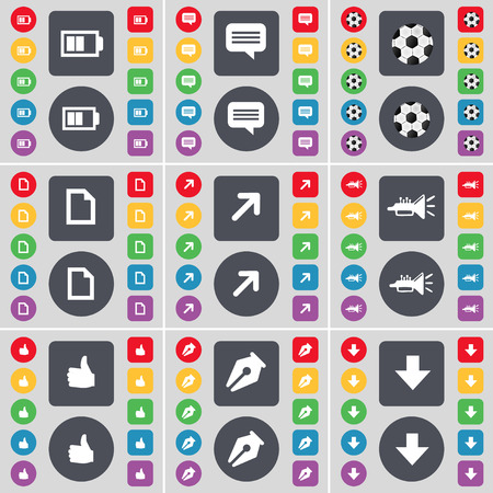 full screen: Battery, Chat bubble, Ball, File, Full screen, Trumped, Like, Ink pen, Arrow down icon symbol. A large set of flat, colored buttons for your design. Vector illustration Illustration