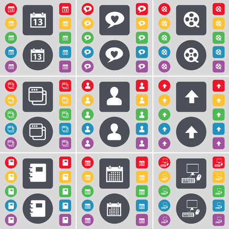 chat up: Calendar, Chat bubble, Videotape, Window, Avatar, Arrow up, Notebook, Calendar, PC icon symbol. A large set of flat, colored buttons for your design. Vector illustration