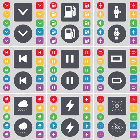 skip: Arrow down, Gas station, Wrist watch, Media skip, Pause, Battery, Cloudd, Flash, Star icon symbol. A large set of flat, colored buttons for your design. Vector illustration