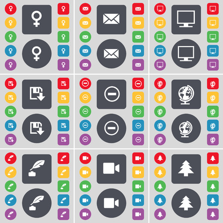 venus symbol: Venus symbol, Message, Monitor, Floppy disk, Minus, Globe, Ink pot, Film camera, Firtree icon symbol. A large set of flat, colored buttons for your design. Vector illustration