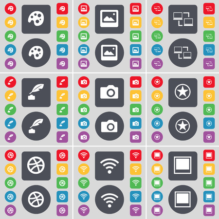 ink pot: Palette, Media window, Connection, Ink pot, Camera, Star, Ball, Wi-Fi, Window icon symbol. A large set of flat, colored buttons for your design. Vector illustration Illustration