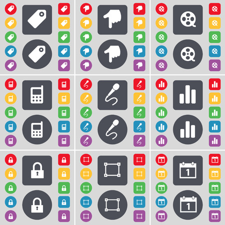 videotape: Tag, Hand, Videotape, Mobile phone, Microphone, Diagram, Lock, Frame, Calendar icon symbol. A large set of flat, colored buttons for your design. Vector illustration
