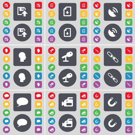chat bubble: Floppy, Download file, Satellite dish, Silhouette, Microphone, Link, Chat bubble, Film camera, Magnet icon symbol. A large set of flat, colored buttons for your design. Vector illustration Illustration