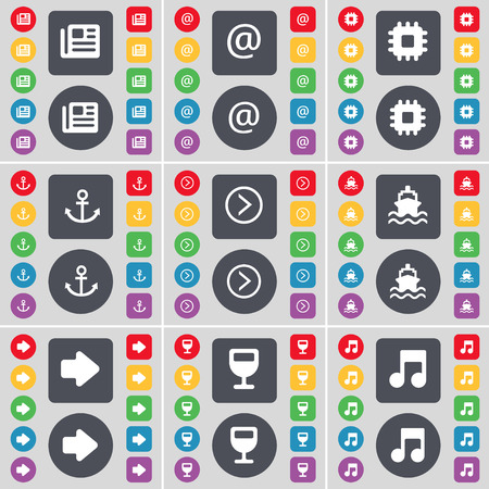 arrow right: Newspaper, Mail, Processor, Anchor, Arrow right, Ship, Wineglass, Note icon symbol. A large set of flat, colored buttons for your design. Vector illustration Vettoriali