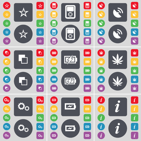 satellite dish: Star, Player, Satellite dish, Copy, Charging, Marijuana, Gear, Information icon symbol. A large set of flat, colored buttons for your design. Vector illustration