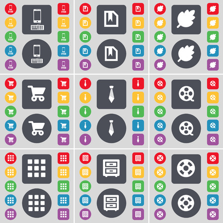 videotape: Smartphone, File, Leaf, Shopping cart, Tie, Videotape, Apps, Bed-taple, Videotape icon symbol. A large set of flat, colored buttons for your design. Vector illustration