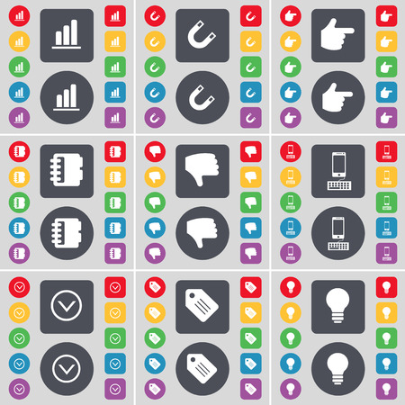 freccia giù: Diagram, Magnet, Hand, Notebook, Dislike, Smartphone, Arrow down, Tag, Light bulb icon symbol. A large set of flat, colored buttons for your design. Vector illustration