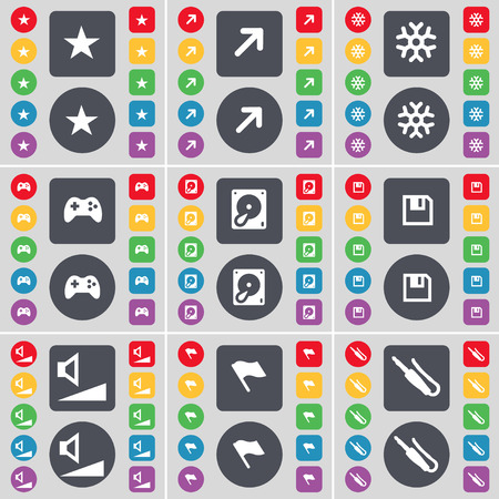 floppy drive: Star, Full screen, Snowflake, Gamepad, Hard drive, Floppy, Volume, Flag, Microphone connector icon symbol. A large set of flat, colored buttons for your design. Vector illustration