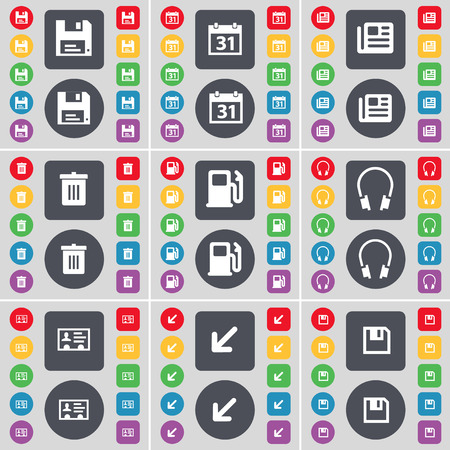 gas can: Floppy, Calendar, Newspaper, Trash can, Gas station, Headphones, Contact, Deploying screen, Floppy icon symbol. A large set of flat, colored buttons for your design. Vector illustration Illustration