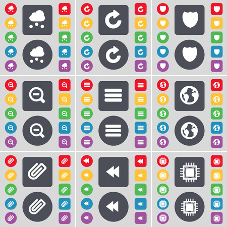 glass badge: Cloud, Reload, Badge, Magnifying glass, Apps, Earth, Clip, Rewind, Processor icon symbol. A large set of flat, colored buttons for your design. Vector illustration