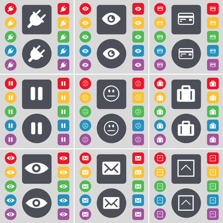 intuition: Socket, Vision, Credit Card, Pause, Smile, Suitcase, Intuition, Message icon symbol. A large set of flat, colored buttons for your design. Vector illustration