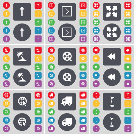 arrow right: Arrow up, Arrow right, Full screen, Palm, Videotape, Rewind, Web cursor, Truck, Golf hole icon symbol. A large set of flat, colored buttons for your design. Vector illustration Vettoriali