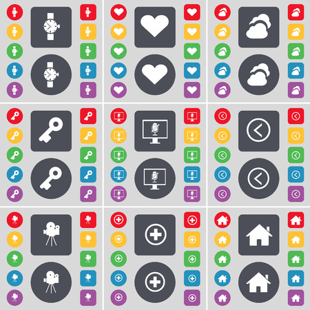 orologio da polso: Wrist watch, Heart, Cloud, Keyboard, Monitor, Arrow left, Film camera, Plus, House icon symbol. A large set of flat, colored buttons for your design. Vector illustration