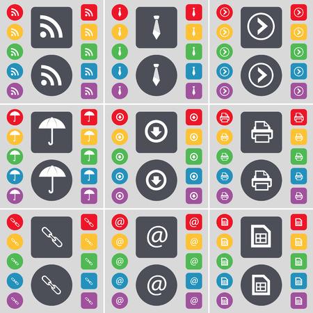 arrow right: RSS, Corbata, Flecha derecha, Paraguas, flecha abajo, impresora, Link, Correo, icono del archivo de s�mbolos. Un gran conjunto de planos botones, colores para su dise�o. Ilustraci�n vectorial