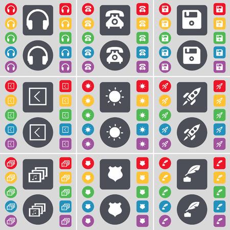 ink pot: Headphones, Retrophone, Floppy, Arrow left, Light, Rocket, Gallery, Police badge, Ink pot icon symbol. A large set of flat, colored buttons for your design. Vector illustration