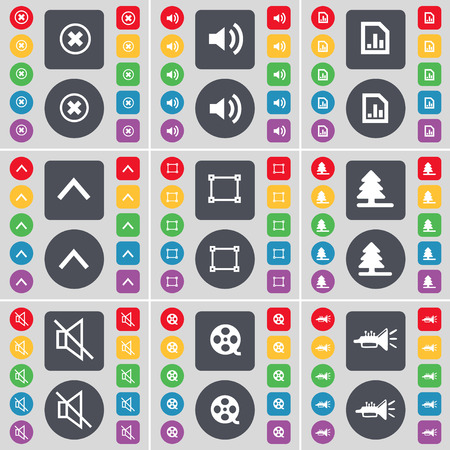 videotape: Stop, Sound, Graph file, Arrow up, Frame, Firtree, Mute, Videotape, Trumped icon symbol. A large set of flat, colored buttons for your design. Vector illustration
