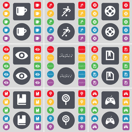 videotape: Cup, Silhouette, Videotape, Vision, Note, File, Dictionary, Lollipop, Gamepad icon symbol. A large set of flat, colored buttons for your design. Vector illustration