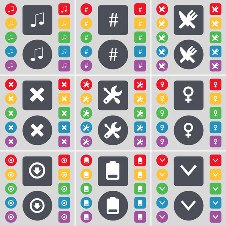 venus symbol: Note, Hashtag, Fork and knife, Stop, Wrench, Venus symbol, Arrow down, Battery, Arrow down icon symbol. A large set of flat, colored buttons for your design. Vector illustration