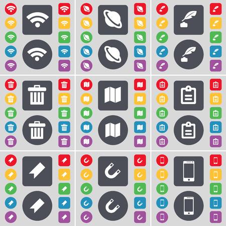 ink pot: Wi-Fi, Planeta, pote de tinta, Bote de basura, Mapa, Encuesta, Marker, Magnet, Smartphone icono de s�mbolo. Un gran conjunto de planos botones, colores para su dise�o. Ilustraci�n vectorial Vectores