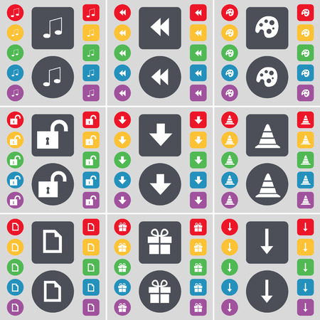 freccia giù: Note, Rewind, Palette, Lock, Arrow down, Cone, File, Gift, Arrow down icon symbol. A large set of flat, colored buttons for your design. Vector illustration Vettoriali