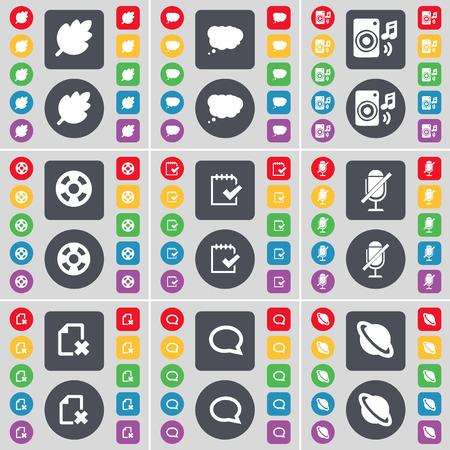 videotape: Leaf, Chat cloud, Speaker, Videotape, Survey, Microphone, File, Chat bubble, Planet icon symbol. A large set of flat, colored buttons for your design. Vector illustration