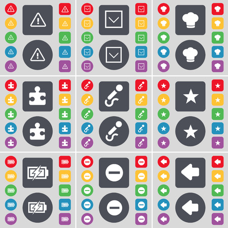 arrow left icon: Warning, Arrow down, Cooking hat, Puzzle, Microphone, Star, Charging, Minus, Arrow left icon symbol. A large set of flat, colored buttons for your design. Vector illustration