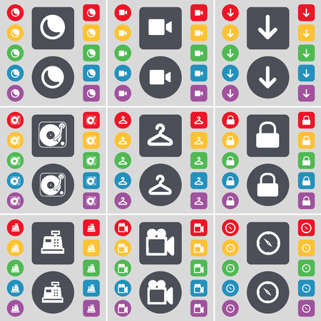 camera film: Moon, Film camera, Arrow down, Gramophone, Hanger, Lock, Cash register, Film camera, Compass icon symbol. A large set of flat, colored buttons for your design. Vector illustration Illustration